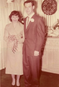 1955 Dad and Mom wedding photo