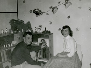 1956 Dad and Mom in living room