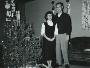 1956 Dad and Mom with Christmas tree