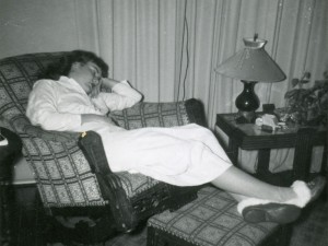 1956 Mom sleeping in living room