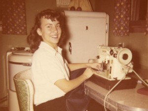 1956 Mom with her sewing machine