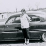 1957 Mom next to car, pregnant with Steven
