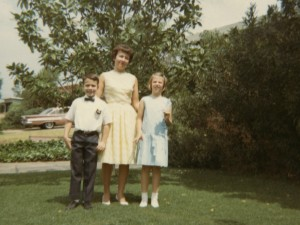 1963 Mom, Steven and Denise on Easter 2