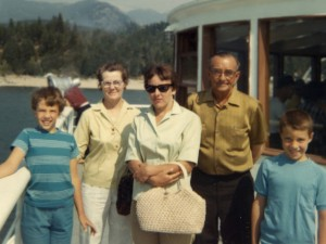 1966 Mom, Steven, Den and grandparents in Idaho