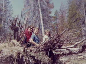 1966 Mom, Steven and Den in a forest