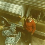 1970 Mom in front of camper, Idaho