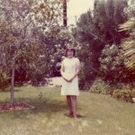 1972 Mom on Easter in back yard